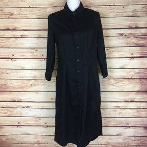 GAP Button Front Shirtdress Black Collared